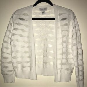 Carmen Marc Valvo Sheer White Cardigan